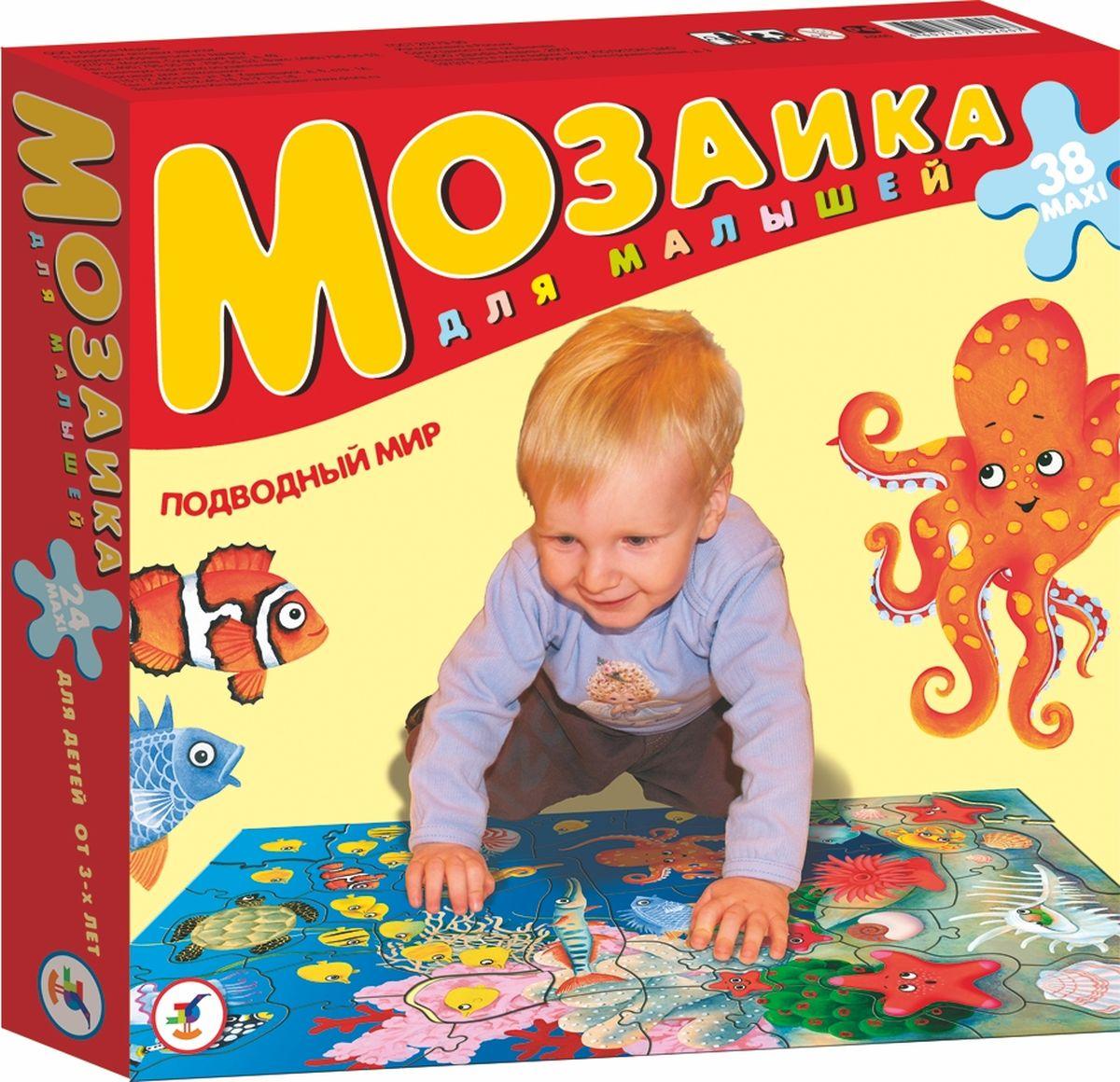 """Игра """"Подводный мир"""" прекрасно подходит для первого знакомства малыша с мозаикой, способствует формированию навыка соединения целого изображения из нескольких элементов. Крупные и яркие детали мозаики удобно собирать на полу. Ребенок научится складывать сюжетную картинку из нескольких частей и подбирать подходящие по форме недостающие фрагменты рисунка. Набор из 38 крупных пазловых элементов. Игра развивает зрительное восприятие, образное мышление и мелкую моторику рук, расширяют кругозор."""