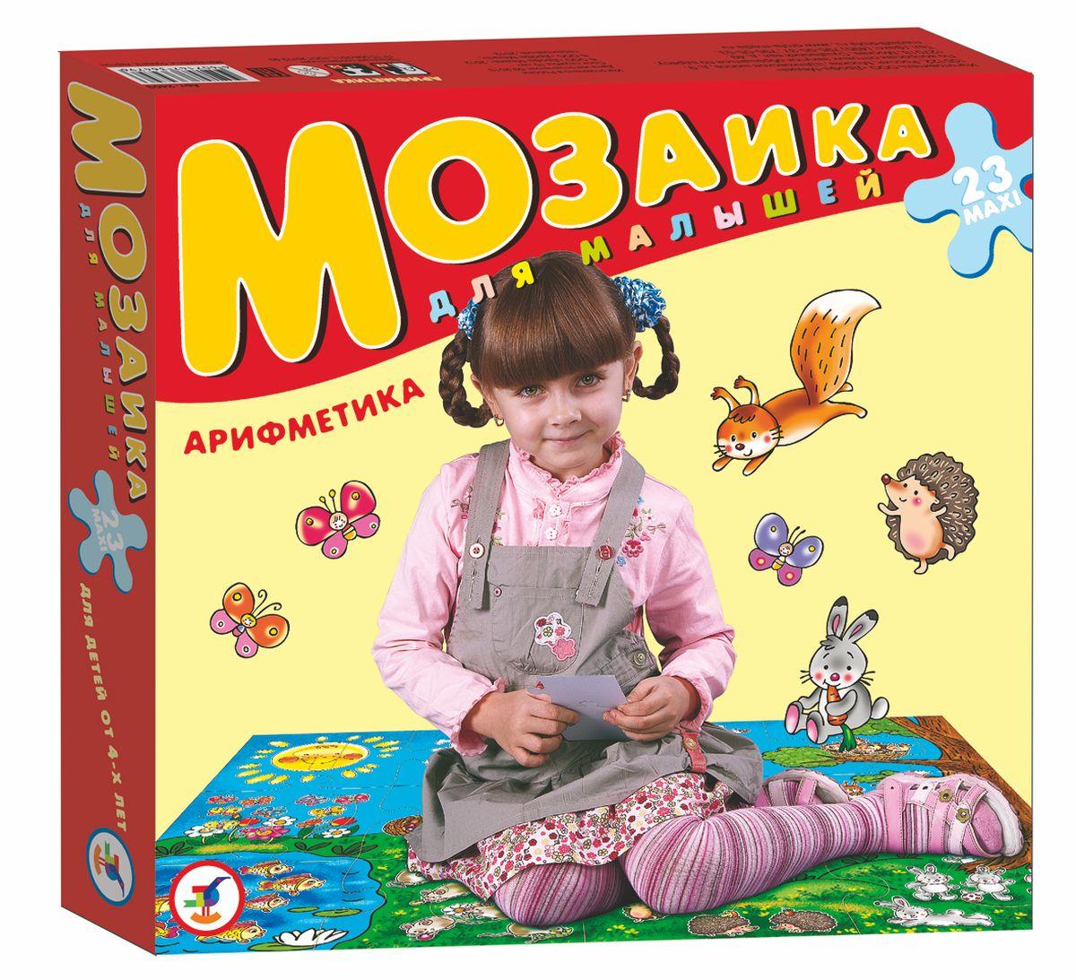 """Игра """"Арифметика"""" прекрасно подходит для первого знакомства малыша с мозаикой, способствует формированию навыка соединения целого изображения из нескольких элементов. Собрав целую картину, ребенок увидит лесную полянку и гуляющих на ней мальчика и девочку. Крупные и яркие детали мозаики удобно собирать на полу. Ребенок научится складывать сюжетную картинку из нескольких частей и подбирать подходящие по форме недостающие фрагменты рисунка. Набор из 24 крупных пазловых элементов. Игра развивает зрительное восприятие, образное мышление и мелкую моторику рук, расширяют кругозор."""