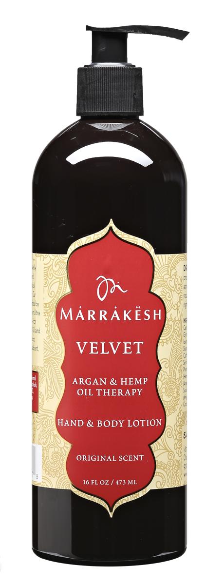 Marrakesh Увлажняющий лосьон для рук и тела Вельвет (аромат Original), 480 млAC-2233_серыйУвлажняет кожу, возвращает коже мягкость, упругость и эластичность. Масло конопли удерживает влагу в коже на протяжении всего дня. Содержит богатый состав аминокислот и жирных кислот, которые питают, увлажняют и защищают кожу.Масло ши в составе лосьона успокаивает, смягчает и придает коже гладкость.