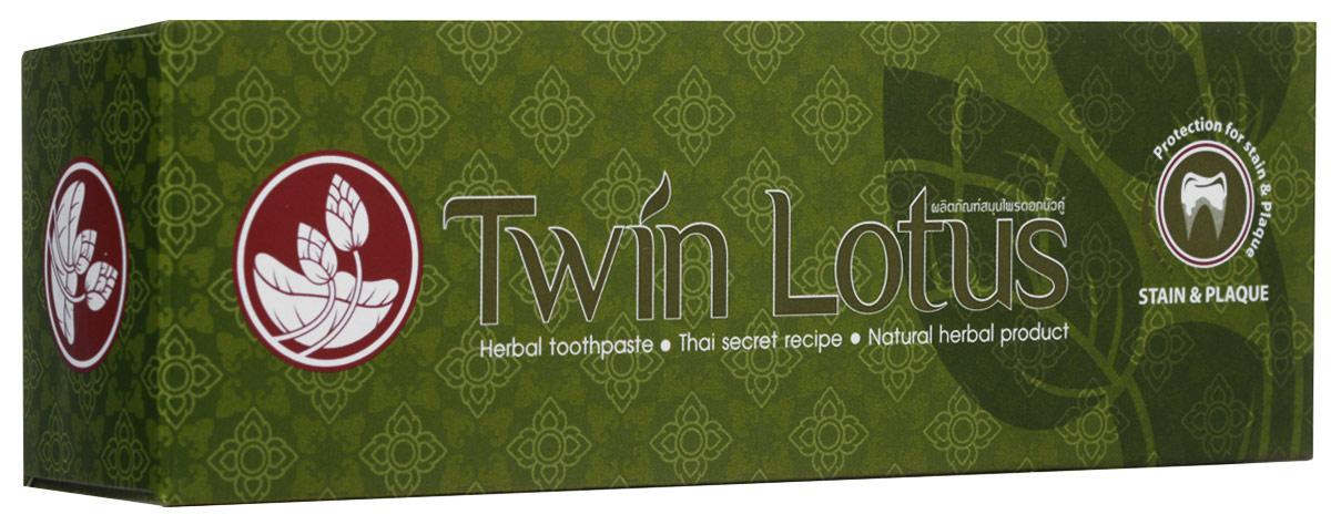 Twin Lotus Зубная паста Рецепт от налета и пятен на зубах, 120 г0841028005390Растительные зубные пасты Twin Lotus содержат более 96% натуральных ингредиентов, в подтверждение этого – темный цвет пасты, достигнутый благодаря смешиванию разных трав и процессу изготовления с использованием современного оборудования.