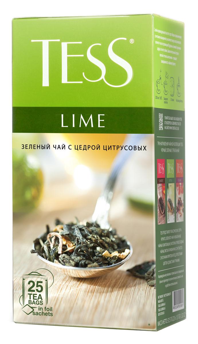 Tess Lime зеленый чай в пакетиках, 25 шт0120710Tess Lime - зеленый ароматизированный чай в пакетиках. Своей индивидуальностью этот сорт обязан гармоничному сочетанию насыщенного, но легкого вкуса классического зеленого чая из провинции Фудзяньи свежей горчинки цедры сочного лайма Заключительный штрих – мягкий оттенок шиповника – придает завершенность чайному букету.