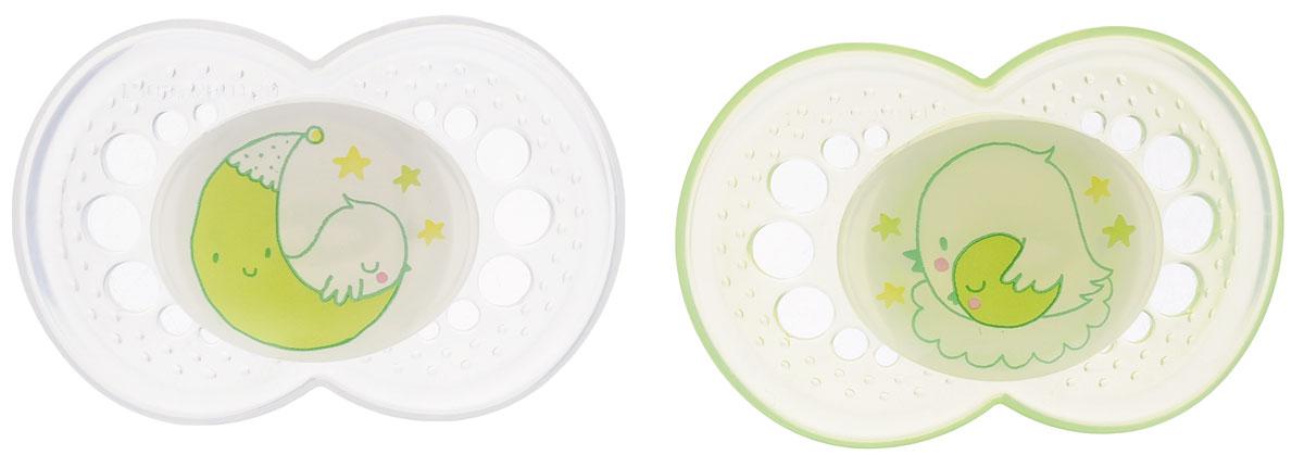 MAM Пустышка силиконовая Night от 6 месяцев цвет прозрачный светло-зеленый 2 шт mam пустышка силиконовая original от 6 до 16 месяцев цвет фиолетовый прозрачный 2 шт