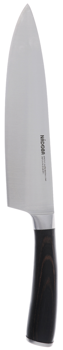 Нож поварской Nadoba Dana, длина лезвия 20 см722510Поварской нож Nadoba Dana, изготовленный из высококачественной нержавеющей стали премиум класса, предназначен для резки мяса, зелени, сыра и многих других продуктов. Лезвия такого ножа остаются острыми очень долгое время. Ручка изделия выполнена из кованной нержавеющей стали и прочного водостойкого древесно-полимерного композита Pakkawood. Нож Nadoba Dana пригодится в любом хозяйстве. Общая длина ножа: 32,5 см.Нельзя мыть в посудомоечной машине.