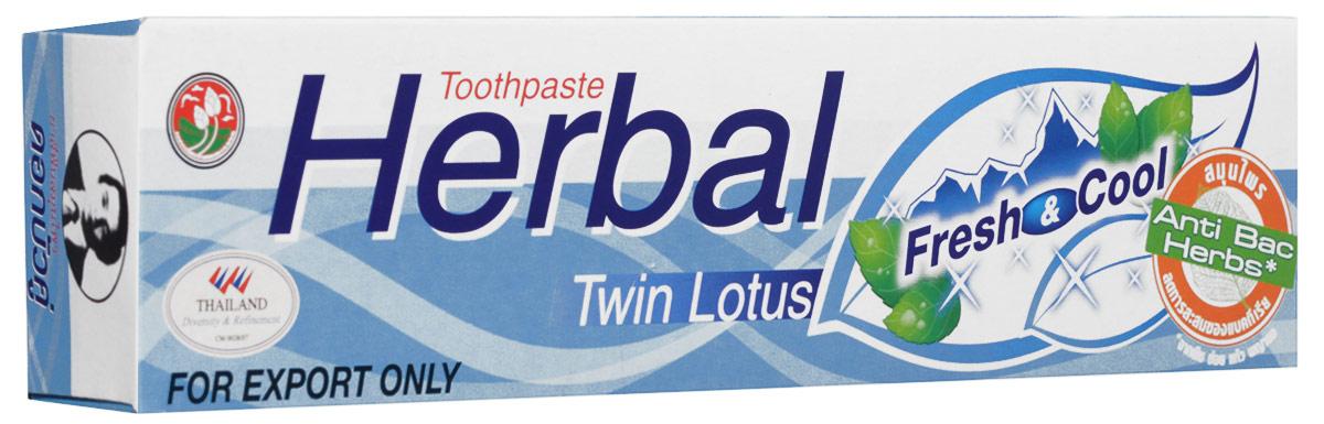 Twin Lotus Зубная паста Herbal Fresh & Cool с травами свежесть и прохлада, 100 гMP59.4DРастительные зубные пасты Twin Lotus содержат более 96% натуральных ингредиентов, в подтверждение этого – темный цвет пасты, достигнутый благодаря смешиванию разных трав и процессу изготовления с использованием современного оборудования.