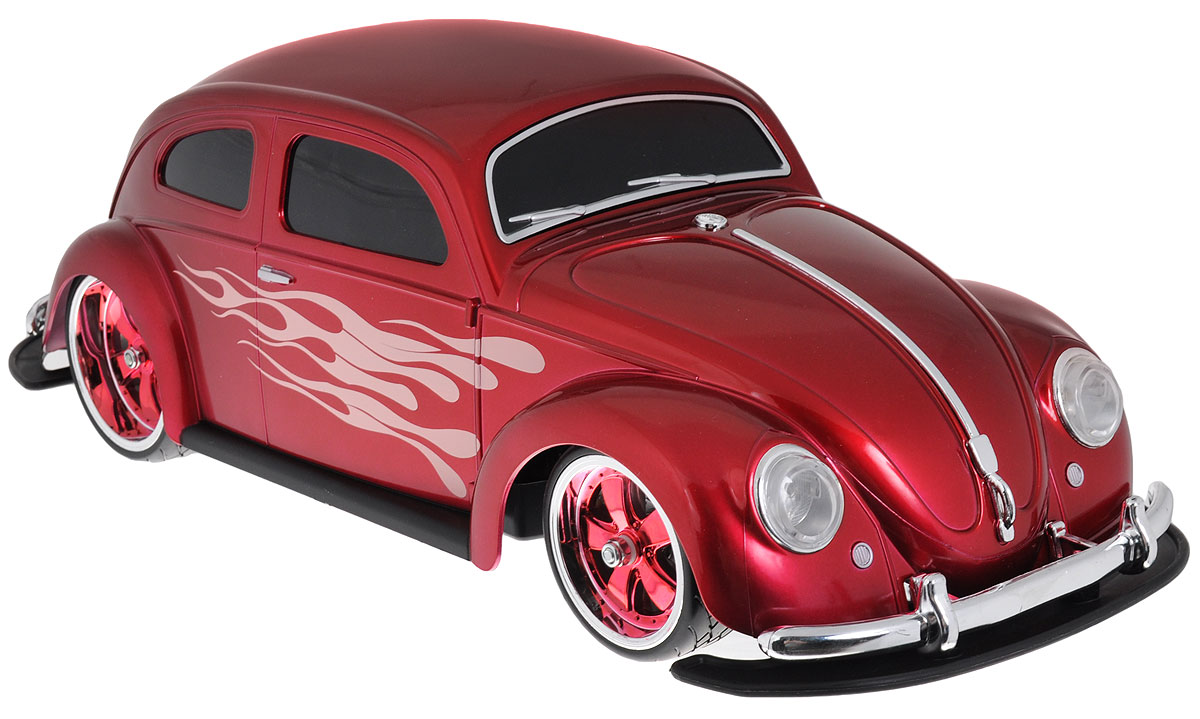 """Радиоуправляемая модель """"Фольксваген Beetle"""" ярко-красного цвета является точной уменьшенной копией настоящего автомобиля. Модель выполнена из прочных материалов, шины выполнены из резины, двери машинки украшены аэрографией в виде языков пламени. Машинка при помощи пульта управления движется вперед, дает задний ход, поворачивает влево и вправо, останавливается. С помощью пульта управления также можно контролировать свет передних и задних фар (выключение, ближний свет, дальний свет). Модель развивает хорошую скорость и обладает высокой стабильностью движения, что позволяет полностью контролировать процесс, управляя уверенно и без суеты. Пульт управления имеет три частоты, что позволяет одновременно управлять 2-3 моделями. Такая машинка станет отличным подарком не только любителю автомобилей, но и человеку, ценящему оригинальность и изысканность, а качество исполнения представит такой подарок в самом лучшем свете."""