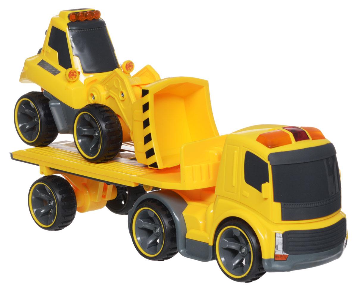 """Трейлер и Бульдозер """"Silverlit"""" на радиоуправлении обязательно привлекут внимание и взрослого, и ребенка и понравятся любому, кто увлекается автомобилями. С помощью сменных агрегатов, бульдозер может превратиться во фронтальный погрузчик, или в снегоуборочную машину. У трейлера поворачивается и раскладывается прицеп. Полнофункциональное управление - вперед-назад, влево-вправо, пропорциональное точное управление скоростью, реалистичные звуковые эффекты, световые эффекты - горят сигнальные фонари на кабине бульдозера. Оригинальный пульт управления - в виде рации. И еще одна особенность - с одного пульта управления можно управлять не только трейлером и бульдозером, но и различными строительными машинами серии """"Power in Fun"""". На пульте управления расположены кнопки управления звуковыми эффектами - мотор и сигнал, световыми эффектами - сигнальные огни на кабине, рычажки управления движением транспортного средства, переключатель выбора управляемого транспортного..."""