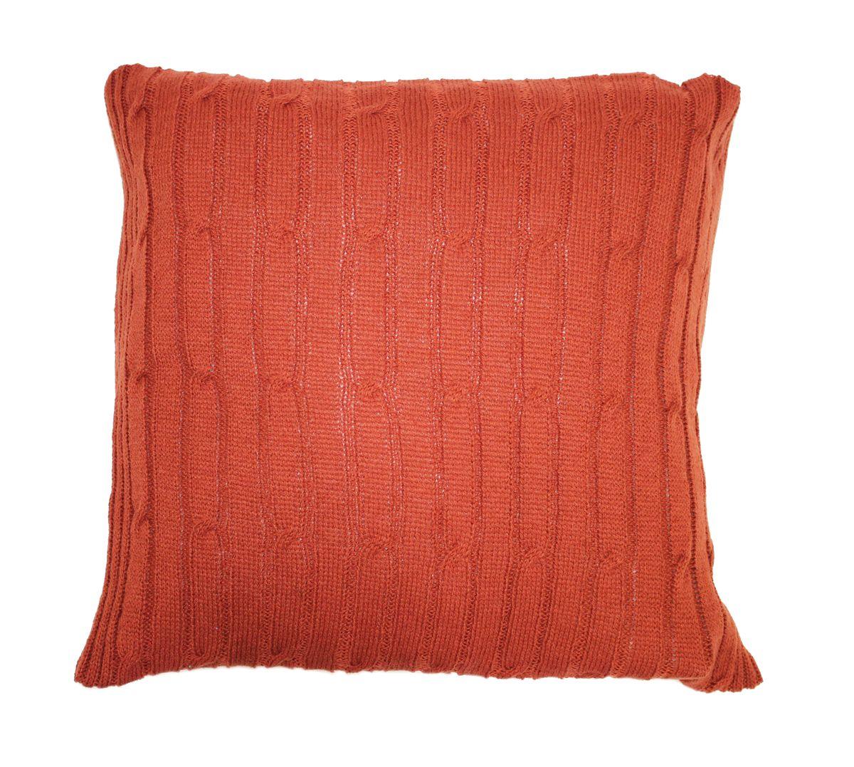Подушка декоративная Proffi Home Косы, цвет: терракотовый, 40 х 40 смPH3671Подушка Proffi Home Косы не оставит равнодушным тех, кто ценит качество и комфорт. Изделие выполнено из качественного материала и оформлено оригинальной вязкой.