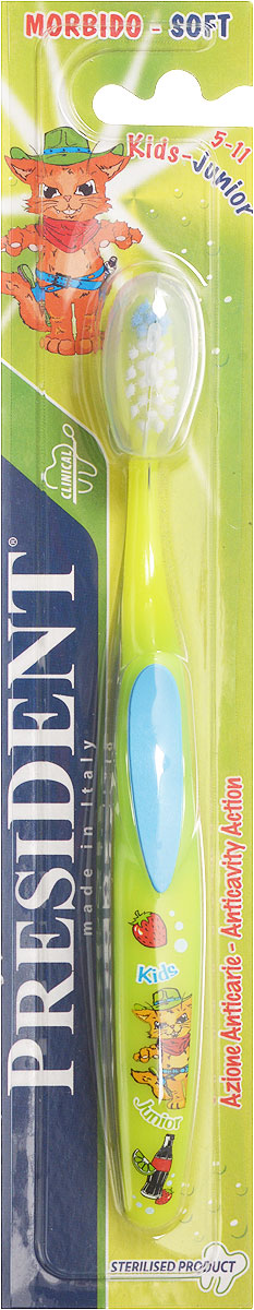 President Детская зубная щетка Kids-Junior цвет голубой зеленый 5-11 лет5010777139655Детская зубная щетка President Kids-Junior идеально подходит для чистки детских зубов. Благодаря мягкой щетине с закругленными кончиками, щетка эффективно чистит зубы и межзубные пространства, что особенно важно для предотвращения кариеса в период роста зубов. Эргономичная изогнутая ручка особой формы не будет скользить в детских руках. Щетка имеет небольшую чистящую головку и цветовое поле мягкой щетины для оптимального дозирования пасты. Щетка дополнена защитным футляром для щетины. Удобная и яркая зубная щетка обязательно понравится малышу и сделает чистку зубов более комфортной.
