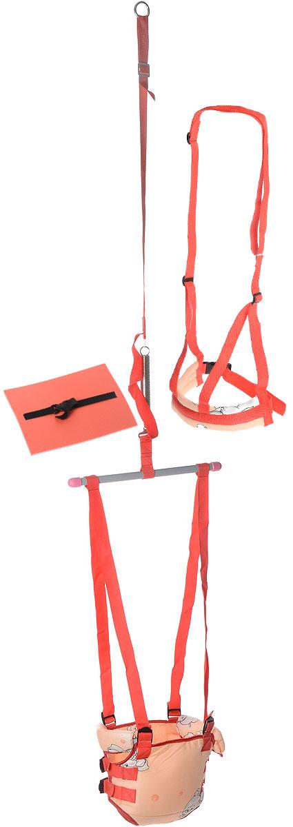"""Тренажер-прыгунки 4 в 1 """"Фея"""" - это игровой комплект в помощь родителям для организации досуга ребенка. Предназначен для развития опорно- двигательного аппарата ребенка от 6 месяцев до 9 лет. Стальная сверхпрочная пружина снабжена предохранительным ремнем, ограничивающим размах колебаний и увеличивающим безопасность. В комплект входят: Тренажер-прыгунки: предназначен для развития опорно-двигательного аппарата. Время нахождения ребенка в тренажере не более 30 минут. Матрасик - предназначен для комфортного отдыха на прогулке (на траве, скамье). Пристегивающийся ремень надежно фиксирует матрасик на теле ребенка. Поводок - помогает родителям поддерживать ребенка во время ходьбы и контролировать его передвижение (на прогулке, в общественных местах). Специальные ремни легко крепятся на плечах и регулируются по длине. Прыгунки подарят ребенку радость от активного движения. Научить малыша прыгать легко, ведь у детей есть врожденный рефлекс - отталкиваться ногами от..."""