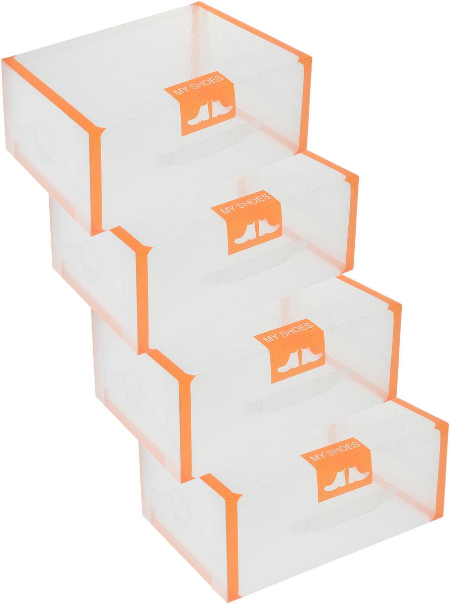 Набор коробок для хранения обуви El Casa, складной, цвет: прозрачный, оранжевый, 35 х 21 х 14 см, 4 шт4160_фиолетовыйСкладной набор El Casa состоит из 4 коробок предназначенных для хранения мужской обуви. Изделия изготовлены из прозрачного пластика и, в отличие от картонных коробок, они не потеряют форму и не порвутся.Изделия имеют ручку для удобства ее транспортировки.Коробка для хранения El Casa - идеальное решение для аккуратного хранения вашей обуви. Оригинальный дизайн украсит вашу гардеробную и будет радовать глаз.