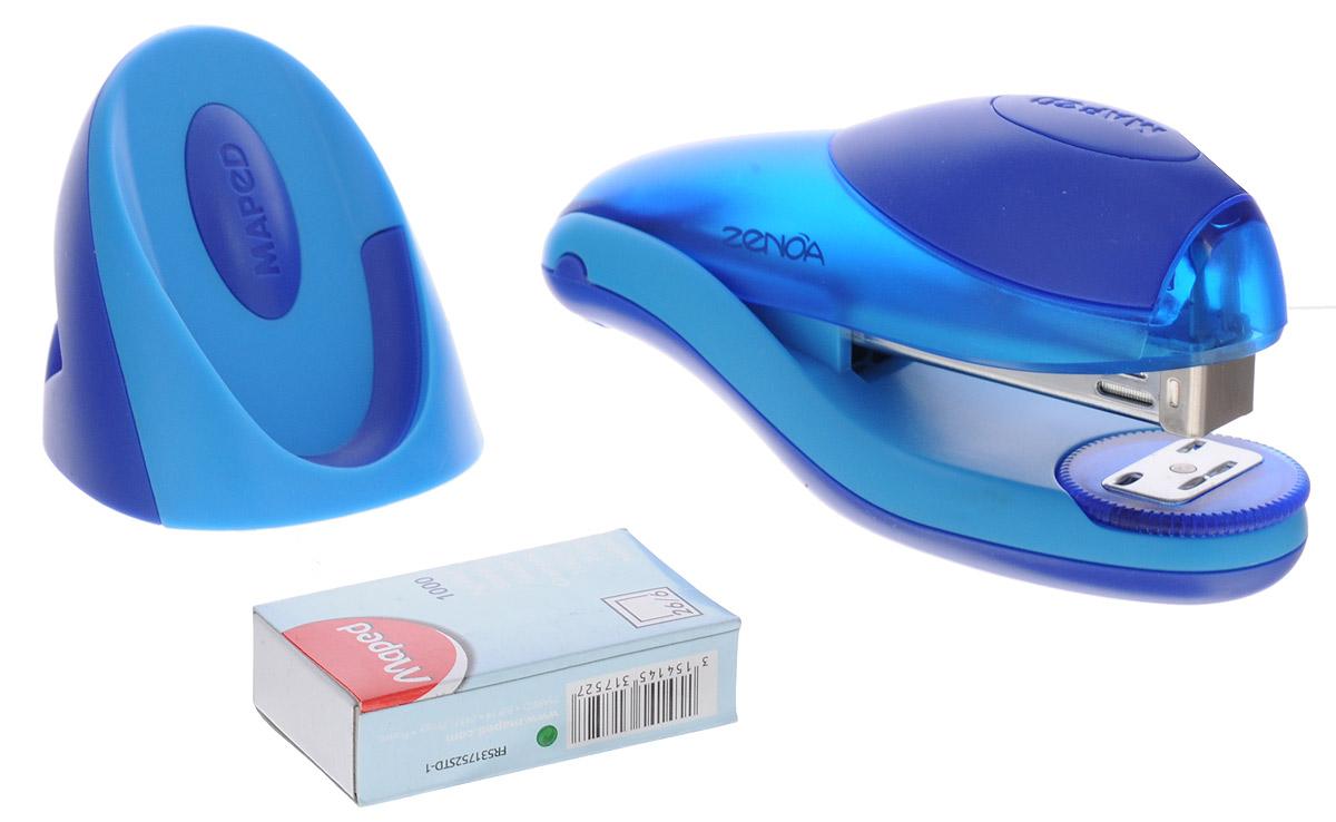 Maped Степлер для скоб Zenoa с подставкой синий голубойFS-36052Степлер для скоб Maped Zenoa эргономичной формы изготовлен из полупрозрачного пластика. В зоне давления руки - накладка из мягкого материала, механизм металлический. Степлер имеет два режима работы: сшивание в открытом виде и сшивание в закрытом виде. Скрепляет одновременно до 25 листов. Глубина закладки бумаги - до 6 мм.В комплект входят: подставка для степлера и скоб, а также одна упаковка скоб 26/6 мм.