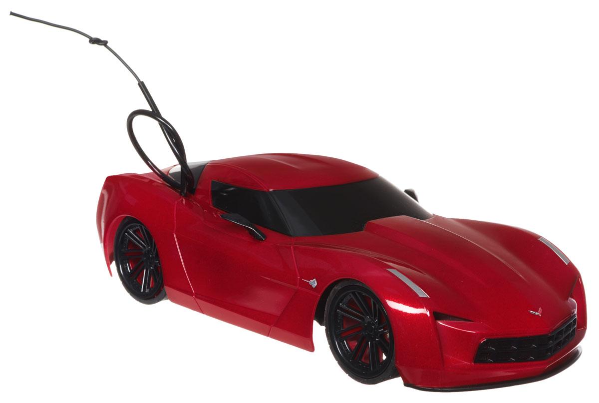 """Радиоуправляемая модель Jada """"Chevy Corvette StingRay Concept"""", выполненная из прочного пластика с металлическими элементами, является точной уменьшенной копией настоящего автомобиля в масштабе 1:16. Машина при помощи пульта управления движется вперед, дает задний ход, поворачивает влево и вправо, останавливается. Модель обладает высокой стабильностью движения, что позволяет полностью контролировать его процесс, управляя уверенно и без суеты. Такая модель автомобиля станет отличным подарком человеку, ценящему оригинальность и изысканность, а качество исполнения представит такой подарок в самом лучшем свете. Машина работает от встроенного аккумулятора, который заряжается при помощи USB-кабеля (входит в комплект). Пульт работает от 2 батареек типа АА (входят в комплект)."""