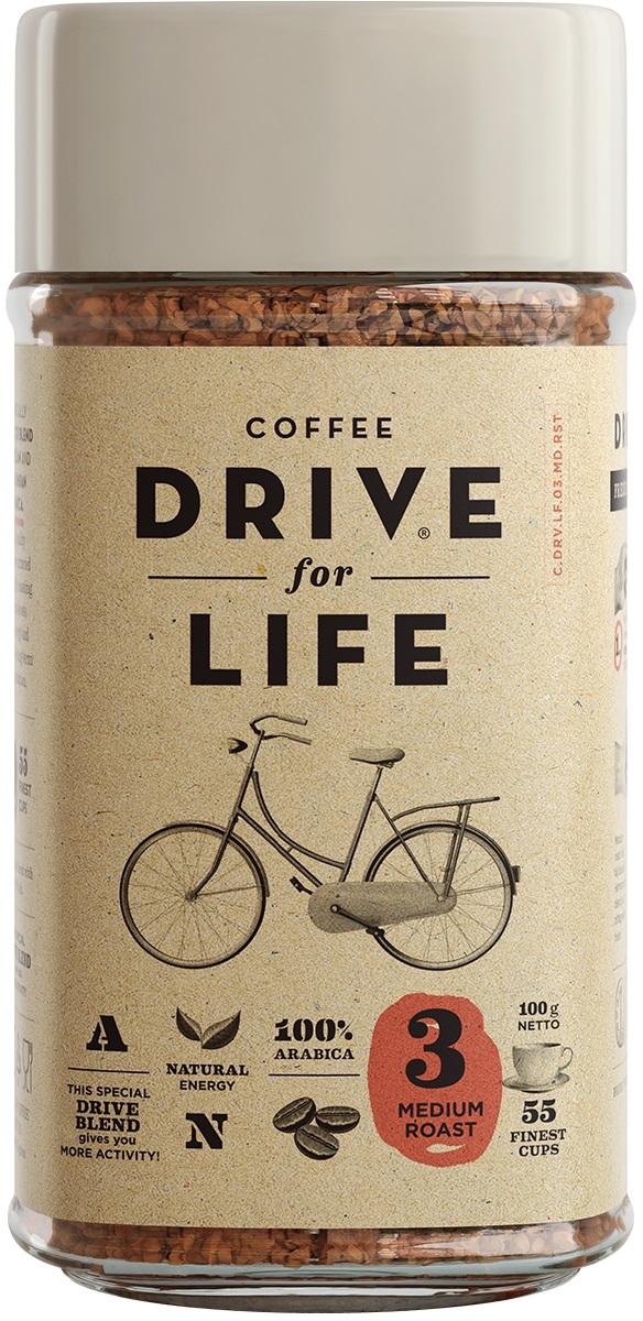 Drive for Life Medium кофе сублимированный, 100 г0120710Special Blend Drive - специально подобранные сорта Бразильской и Колумбийской Арабики, при обжарки которых вырабатывается натуральный кофеин высокого качества. Улучшает внимание, память и обеспечивает энергией на длительное время.