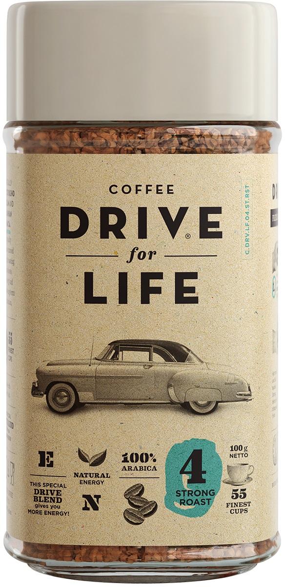 Drive for Life Strong кофе сублимированный, 100 гУПП00004241Special Blend Drive - специально подобранные сорта Бразильской и Колумбийской Арабики, при обжарки которых вырабатывается натуральный кофеин высокого качества. Улучшает внимание, память и обеспечивает энергией на длительное время.