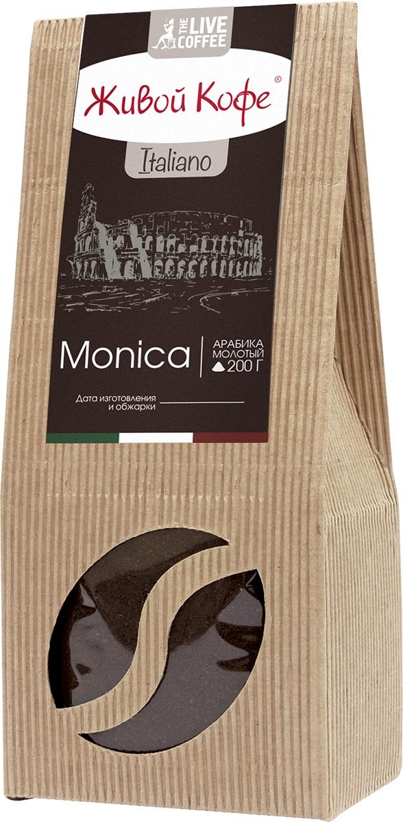 Живой Кофе Italiano Monica кофе молотый, 200 г8002200140137Живой Кофе Italiano Monica отличается ярко выраженным ароматом, терпким послевкусием и нотками спелого чернослива. Вкус для настоящих индивидуалов, людей с нестандартным мышлением и творцов, живущих в стиле соло (от итал. solo – один, единственный).