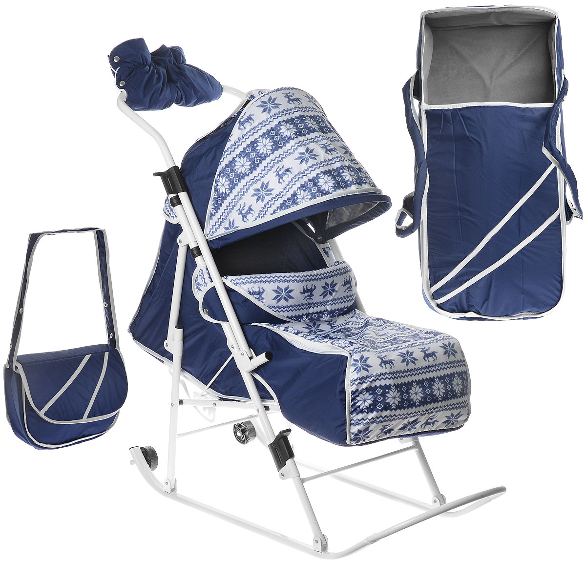 Санки-коляска Любава (с переноской) (Синий (Скандинавия))267111Складные санки-коляска с плоскими полозьями с переноской в комплекте , 5 положений спинки, увеличенное посадочное место, ремень безопасности, складывающийся козырек, смотровое окошко, чехол для ног. Перекидная ручка, поднимающаяся подножка, сумка для мамы, муфта.