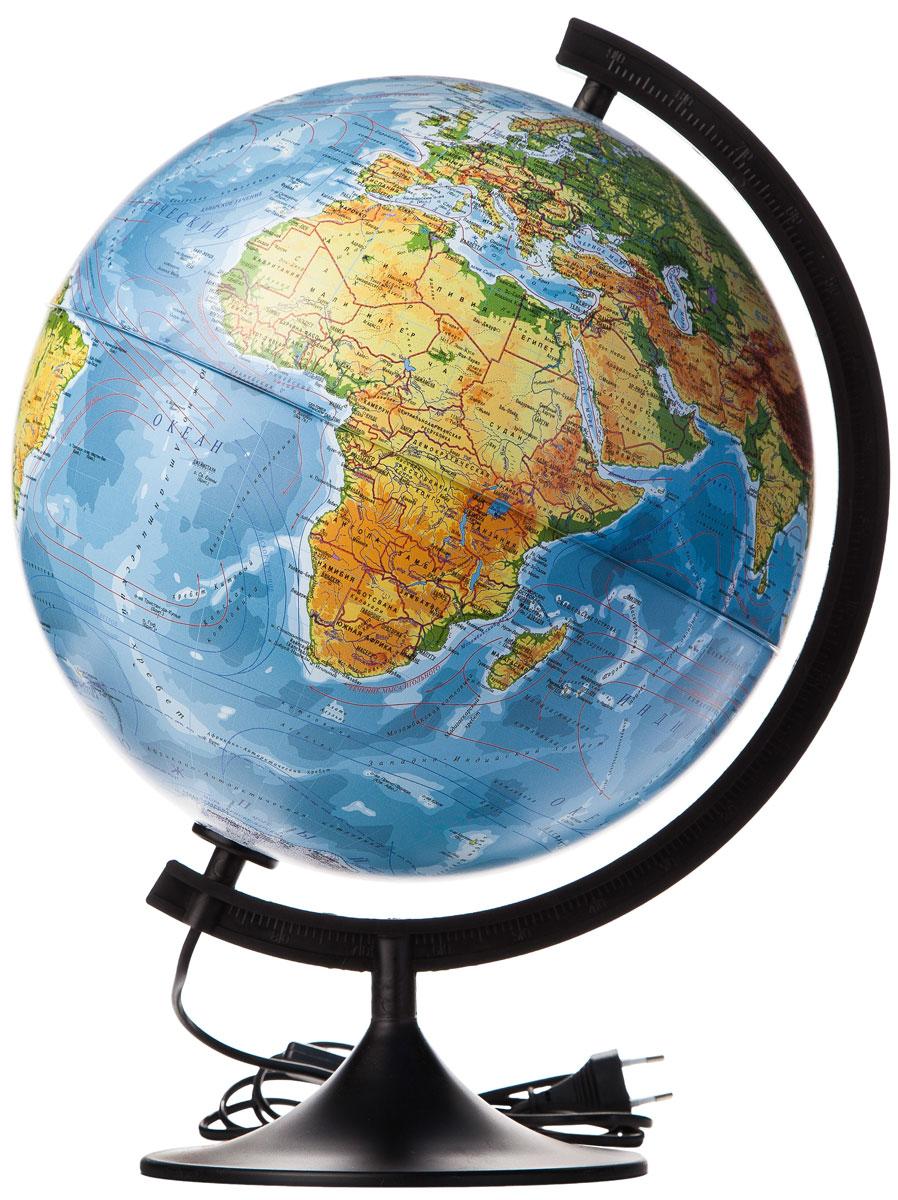 Globen Глобус Земли физико-политический с подсветкой диаметр 320 ммК013200101Глобус - уменьшенная и понятная, даже детям, модель земного шара, помогает в развитии пространственного воображения и формирования правильного мировосприятия подрастающего поколения.Глобусы от компании Globen изготавливаются из высококачественных материалов и являются отличным наглядным пособием для школьников и студентов. Главная особенность этой модели – наличие подсветки, которая работает от сети переменного тока. На кабеле питания имеется переключатель. При включении подсветки определяются государственные границы стран.Модель имеет устойчивую пластиковую подставку черного цвета.