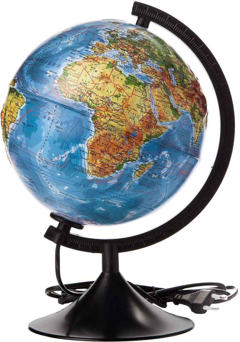 Globen Глобус Земли физический рельефный с подсветкой диаметр 210 мм К022100013FS-00897Глобус - уменьшенная и понятная, даже детям, модель земного шара, помогает в развитии пространственного воображения и формирования правильного мировосприятия подрастающего поколения.Глобусы Globen изготавливаются из высококачественных материалов и являются отличным наглядным пособием для школьников и студентов. Глобус имеет функцию подсветки от электрической сети. На кабеле питания имеется переключатель.