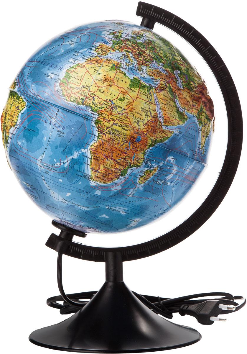 Globen Глобус Земли физико-политический рельефный с подсветкой диаметр 210 мм К022100091FS-00897Глобус - уменьшенная и понятная, даже детям, модель земного шара, помогает в развитии пространственного воображения и формирования правильного мировосприятия подрастающего поколения.Глобусы Globen изготавливаются из высококачественных материалов и являются отличным наглядным пособием для школьников и студентов. Глобус имеет функцию подсветки от электрической сети. На кабеле питания имеется переключатель.