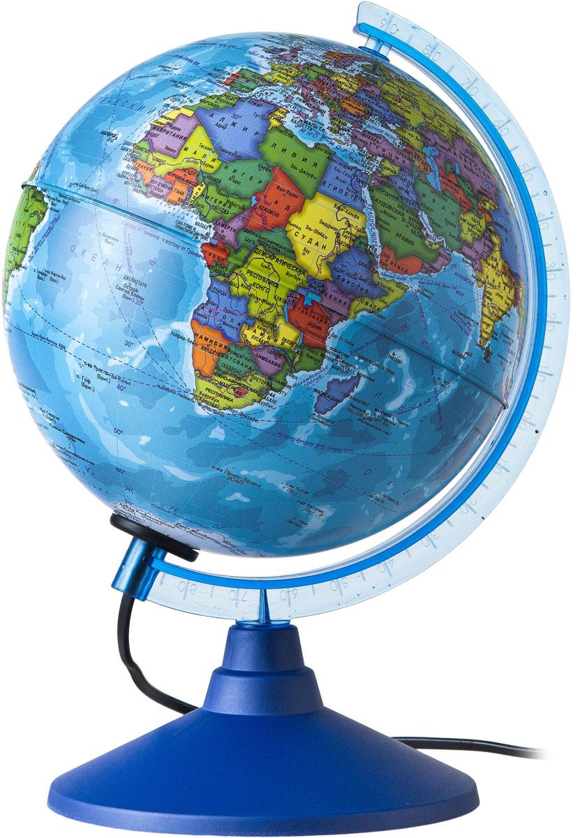 Globen Глобус Земли политический с подсветкой диаметр 150 ммК022100091Глобус - уменьшенная и понятная, даже детям, модель земного шара, помогает в развитии пространственного воображения и формирования правильного мировосприятия подрастающего поколения.Глобусы Globen изготавливаются из высококачественных материалов и являются отличным наглядным пособием для школьников и студентов. Глобус имеет функцию подсветки от электрической сети. На кабеле питания имеется переключатель.