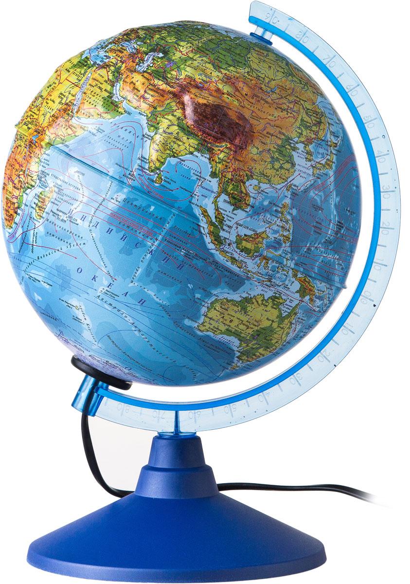 Globen Глобус Земли физический рельефный с подсветкой диаметр 210 мм Ке022100184FS-00897Глобус - уменьшенная и понятная, даже детям, модель земного шара, помогает в развитии пространственного воображения и формирования правильного мировосприятия подрастающего поколения.Глобусы Globen изготавливаются из высококачественных материалов и являются отличным наглядным пособием для школьников и студентов. Глобус имеет функцию подсветки от электрической сети. На кабеле питания имеется переключатель.