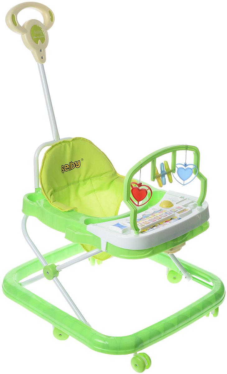 """Ходунки """"Selby"""" предназначены для развития ребенка в возрасте от 6 месяцев до 1 года, когда он начинает ходить. Изделие выполнено из высококачественного прочного пластика и металла, безопасного для самых маленьких. Ходунки имеют несколько уровней регулировки по высоте в зависимости от роста малыша. Съемное сиденье оснащено мягкой накладкой. Специальный игровой столик с подвесными фигурками и музыкальной игрушкой поможет малышу отдохнуть и поиграть, когда он устанет передвигаться. Шесть колес вращаются на 360°, что позволяет ребенку двигаться в любом направлении. Взрослые также могут катать ребенка при помощи длинной ручки, расположенной сзади. Ходунки быстро складываются, в сложенном состоянии занимают мало места. Необходимо докупить 2 батарейки типа АА для игрового столика (в комплект не входят)."""