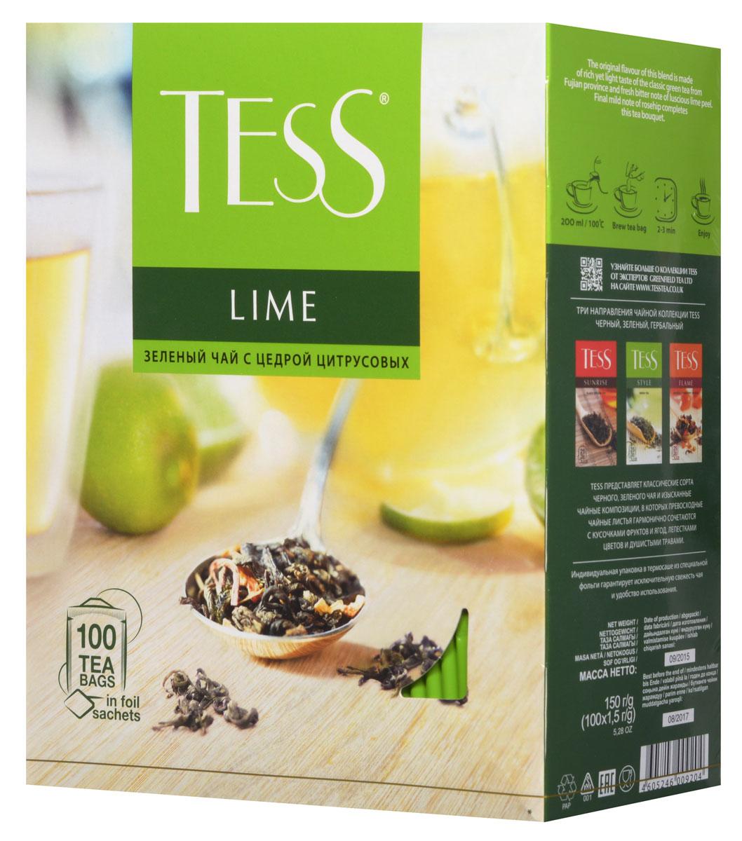 Tess Lime зеленый чай в пакетиках, 100 шт0120710Tess Lime - зеленый ароматизированный чай в пакетиках. Своей индивидуальностью этот сорт обязан гармоничному сочетанию насыщенного, но легкого вкуса классического зеленого чая из провинции Фудзяньи свежей горчинки цедры сочного лайма Заключительный штрих - мягкий оттенок шиповника - придает завершенность чайному букету.