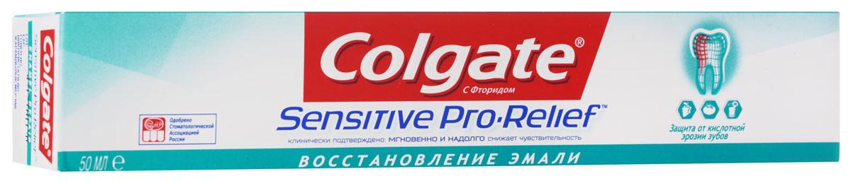 Colgate Зубная паста Sensitive Pro-Relef Восстановление Эмали 50 млMP59.4DИнновационная Pro-Argin™ технология При регулярном использовании создает восстанавливающий слой, состоящий из минералов, входящих в состав зубной эмали, который действует против повышенной чувствительности. Мгновенно1 и надолго2 снижает повышенную чувствительность зубов так же как и базовая формула