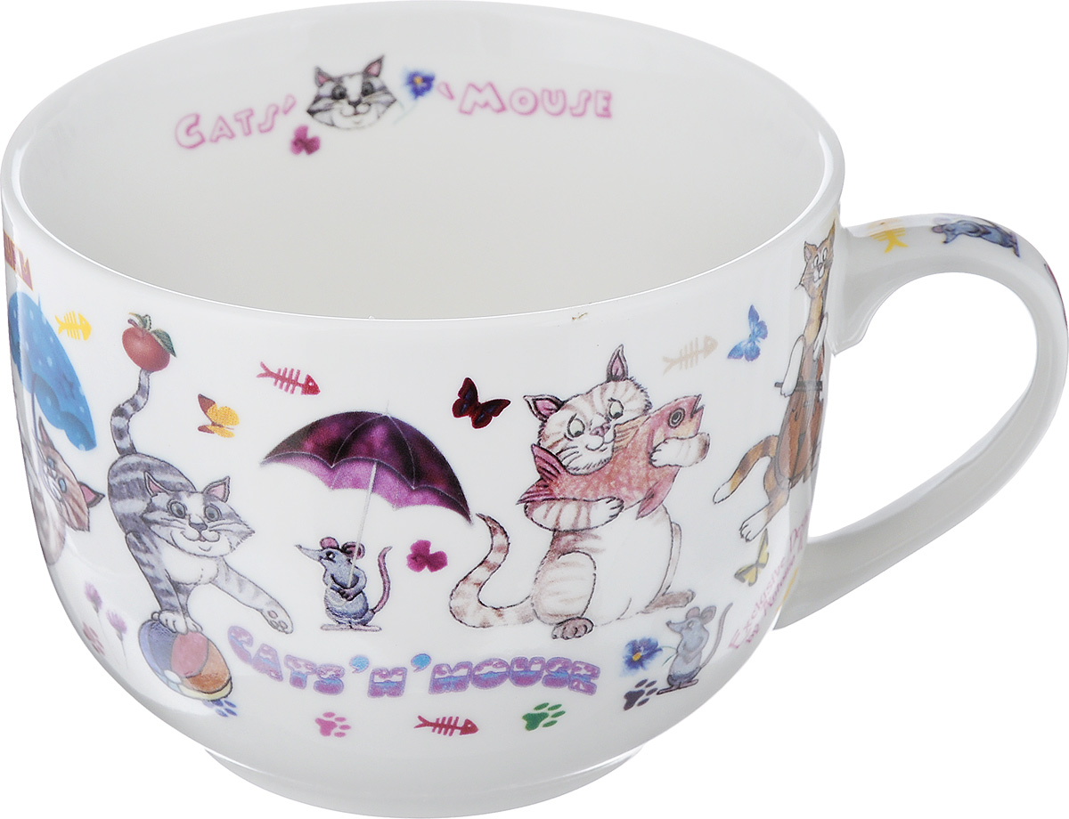 Бульонница GiftnHome CatsnMouse, 700 мл115510Бульонница GiftnHome CatsnMouse изготовлена их высококачественного фарфора и оформлена изображением кошек и мышек. Изделие имеет широкую горловину и оснащено удобной ручкой. Бульонница подойдет не только для супа, но и для чая или кофе. Такая стильная бульонница будет незаменимой вещью в вашем хозяйстве.Можно использовать в микроволновой печи и мыть в посудомоечной машине.Диаметр (по верхнему краю): 12 см.Высота: 9 см.