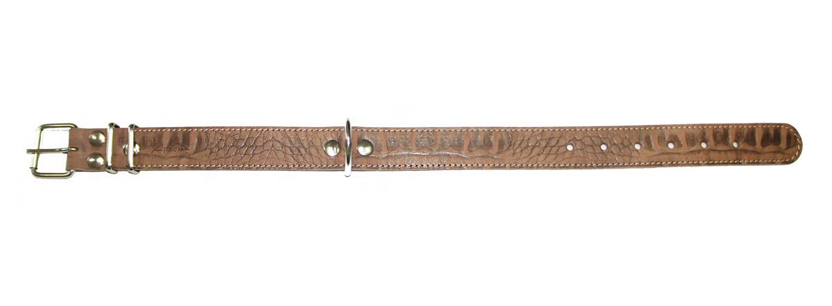 Ошейник Аркон Джунгли, ширина 35 мм, длина 52-70 см. од35/2с0120710Ошейник Аркон Джунгли полностью отвечает требованиям современных мировых кинологических стандартов. Ошейник выполнен из лучшей шорно-седельной кожи, устойчивой к влажности и перепадам температур. Клеевой слой, сверхпрочные нити, крепкие металлические элементы делают ошейники от компании Аркон еще более надежными и долговечными.