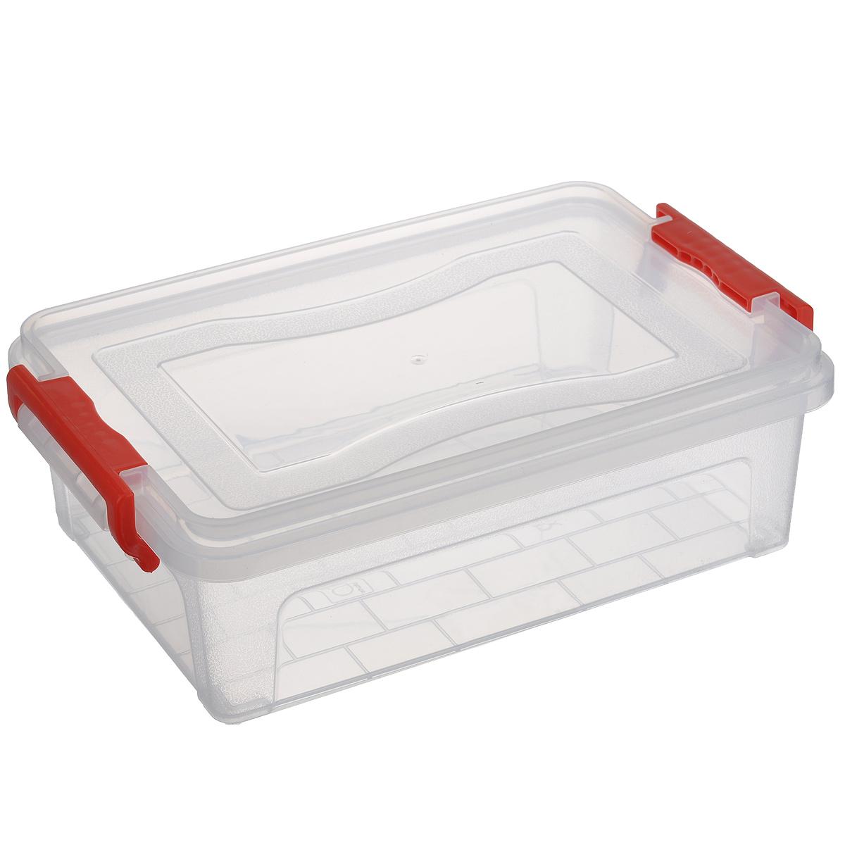 Контейнер для хранения Idea, прямоугольный, цвет: прозрачный, красный, 3,6 лМ 2860Контейнер для хранения Idea выполнен из высококачественного полипропилена. Контейнер снабжен двумя пластиковыми фиксаторами по бокам, придающими дополнительную надежность закрывания крышки. Вместительный контейнер позволит сохранить различные нужные вещи в порядке, а герметичная крышка предотвратит случайное открывание, защитит содержимое от пыли и грязи.
