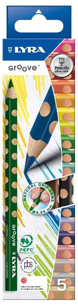 Цветные карандаши Lyra Groove, 5 цветов72523WDЦветные карандаши Lyra Groove непременно, понравятся вашему юному художнику. Набор включает в себя 5 ярких насыщенных утолщенных цветных карандаша треугольной формы с эргономичным захватом. Карандаши изготовлены из натурального сертифицированного дерева, экологически чистые. Имеют ударопрочный неломающийся высокопигментный грифель, не требующий сильного нажатия и легко затачиваются. Порадуйте своего ребенка таким восхитительным подарком! В комплекте: 5 карандашей (желтый, зеленый, синий, красный, черный).