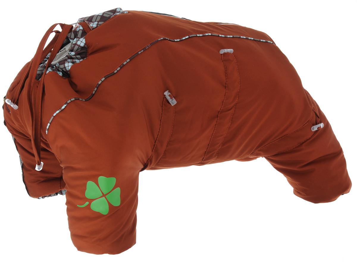 Комбинезон для собак Dogmoda Doggs, зимний, для девочки, цвет: оранжевый. Размер XL0120710Комбинезон для собак Dogmoda Doggs отлично подойдет для прогулок в зимнее время года.Комбинезон изготовлен из полиэстера, защищающего от ветра и снега, с утеплителем из синтепона, который сохранит тепло даже в сильные морозы, а на подкладке используется искусственный мех, который обеспечивает отличный воздухообмен. Комбинезон застегивается на молнию и липучку, благодаря чему его легко надевать и снимать. Молния снабжена светоотражающими элементами. Низ рукавов и брючин оснащен внутренними резинками, которые мягко обхватывают лапки, не позволяя просачиваться холодному воздуху. На вороте, пояснице и лапках комбинезон затягивается на шнурок-кулиску с затяжкой. Модель снабжена непромокаемым карманом для размещения записки с информацией о вашем питомце, на случай если он потеряется.Благодаря такому комбинезону простуда не грозит вашему питомцу и он не даст любимцу продрогнуть на прогулке.