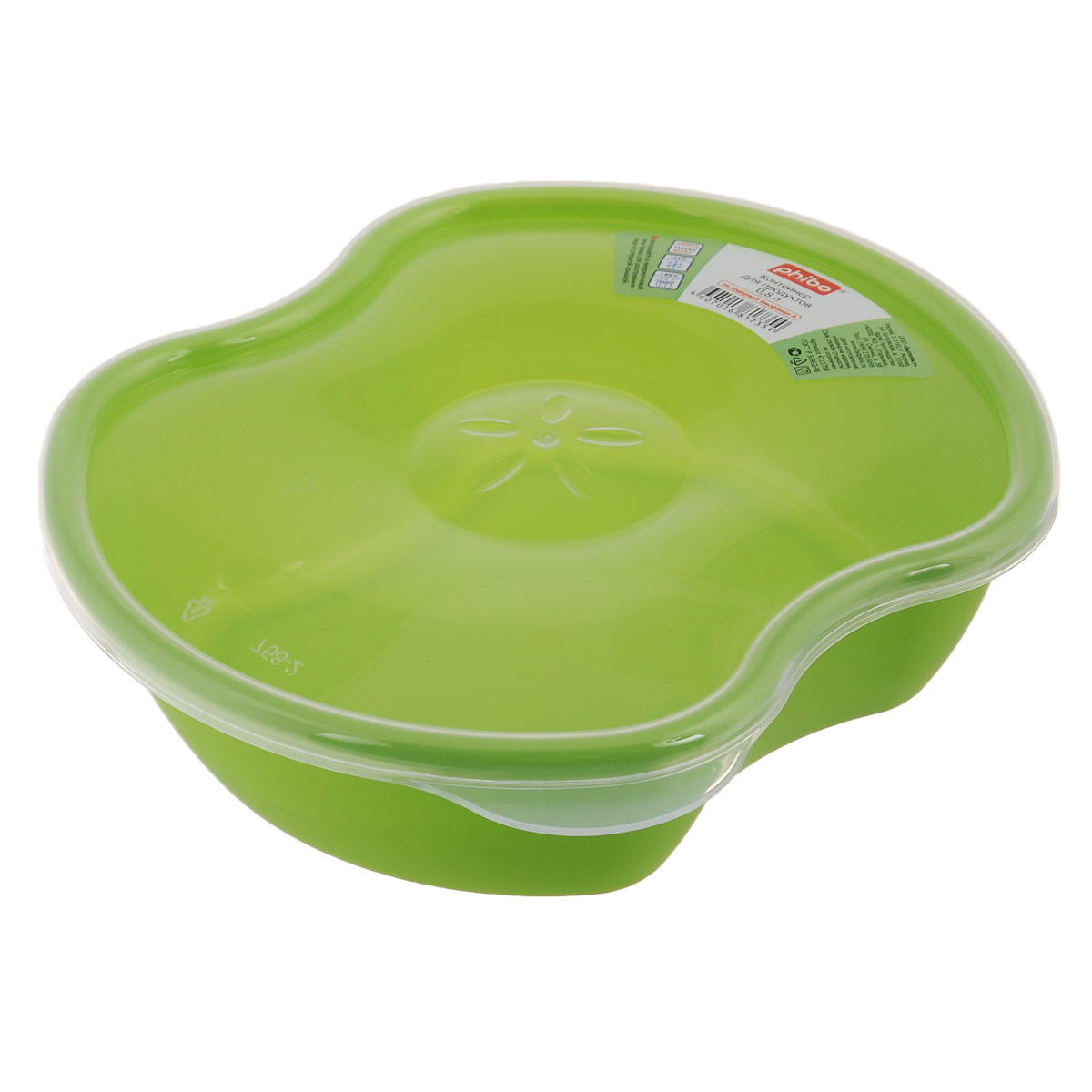 Контейнер для пищевых продуктов Phibo Eco Style, 0,8 л709_белый/голубойКонтейнер Phibo Eco Style изготовлен из высококачественного пластика, без содержания бисфенола А. Контейнер выполнен в форме разрезанного яблока, а декор в центре крышки напоминает сердцевину фрукта. Крышка прозрачная, легко и плотно закрывается. Контейнер устойчив к воздействию масел и жиров, легко моется. Подходит для использования в микроволновых печах, выдерживает хранение в морозильной камере, его можно мыть в посудомоечной машине.