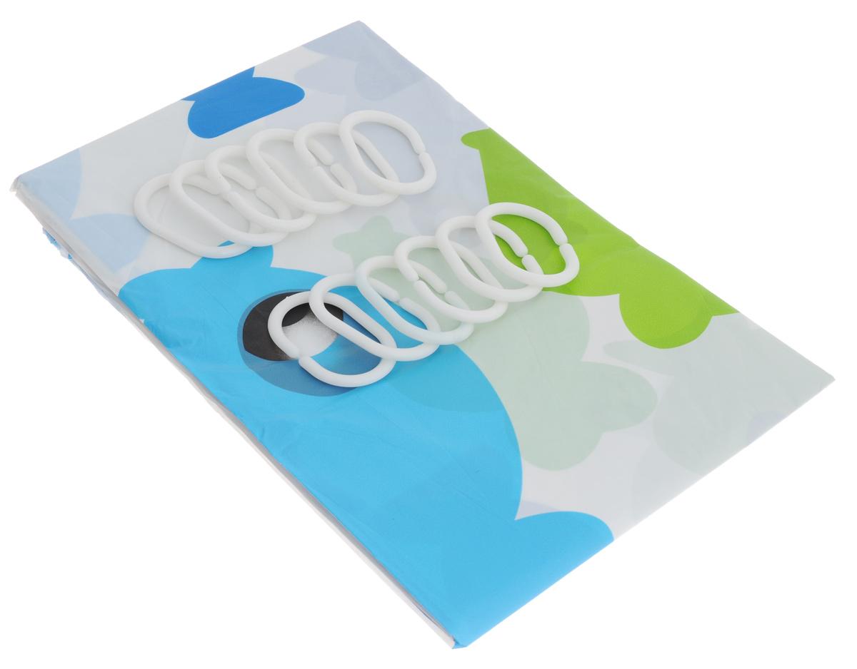 Штора для ванной комнаты Дом и все, что в нем, цвет: белый, голубой, зеленый, 180 см х 180 смNN-605-LS-WШтора Дом и все, что в нем, изготовленная из водонепроницаемого полимерного материала, идеально защищает ваннуюкомнату от брызг. В верхней кромке шторы предусмотрены отверстия для пластиковых колец(входят в комплект).Яркий дизайн шторы украсит интерьер ванной комнаты. Количество колец: 12 шт.