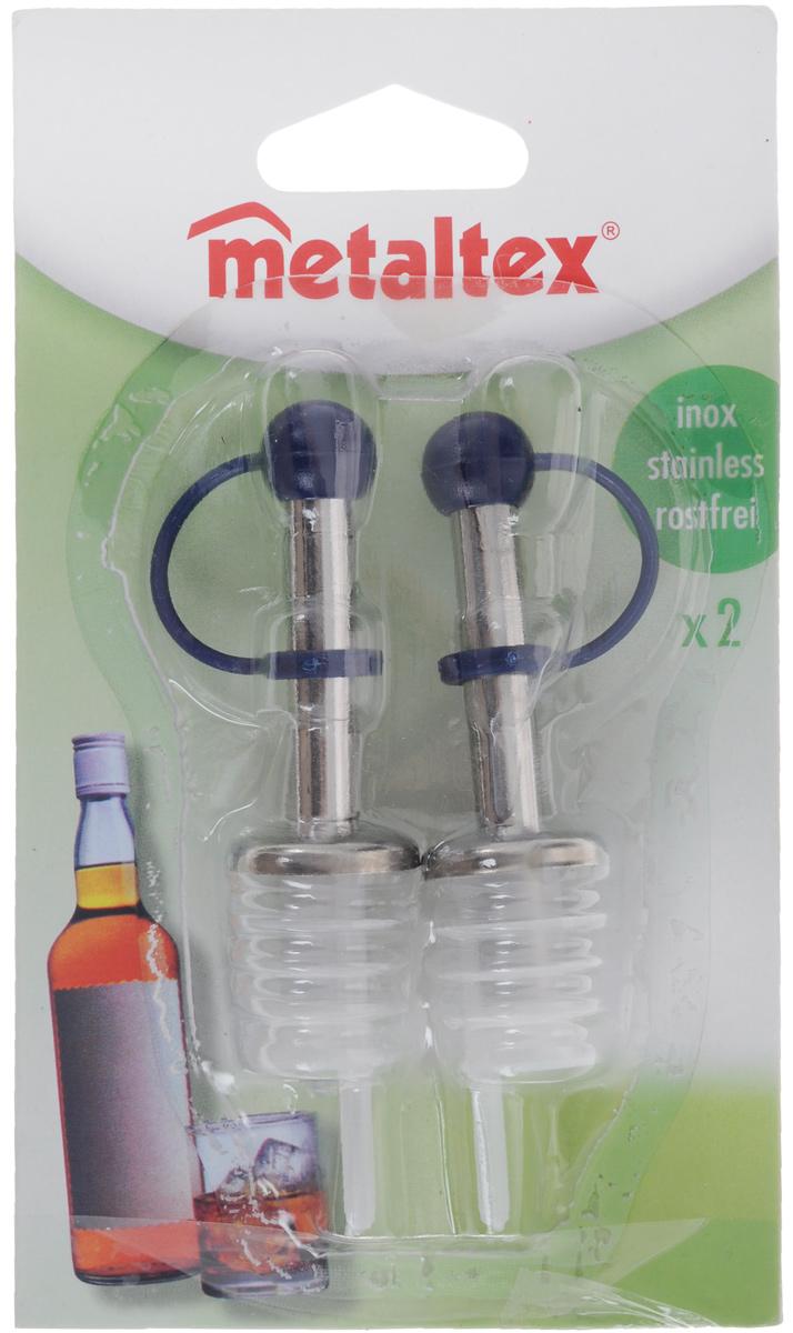 Набор пробок-дозаторов Metaltex, цвет: темно-синий, 2 шт1540898_красныйНабор Metaltex состоит из двух пробок-дозаторов, предназначенных для закрывания бутылок. Пробки выполнены из стали и пластика. С помощью таких пробок можно наливать напитки, не вынимая их. Набор Metaltexпорадует вас лаконичным дизайном и функциональностью, а также займет достойное место среди аксессуаров на вашей кухне.