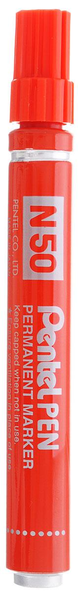 Pentel Маркер перманентный Pen N50 цвет красный72523WDМаркер перманентный Pentel Pen N50 в ударопрочном металлическом корпусе идеально пишет на различных поверхностях. Диаметр стержня 4,3 мм.Маркер заправлен перманентными быстросохнущими чернилами на спиртовой основе. Имеет капиллярную систему подачи чернил. Надписи, сделанные этим маркером, устойчивы к истиранию.