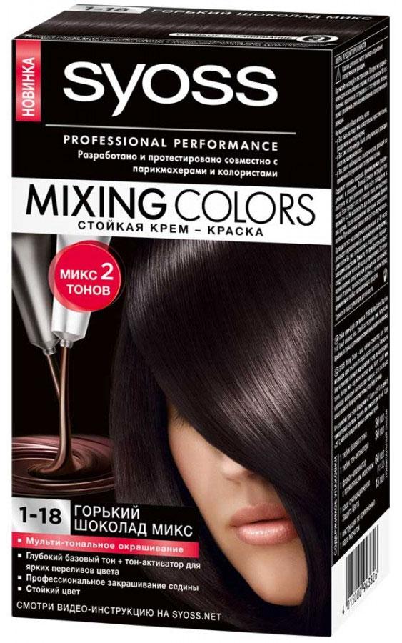 Крем-краска Syoss Mixing Colors 1-18. Горький шоколад микс9393355Стойкая крем-краска Syoss Mixing Colors состоит из двух тонов, специально отобранных парикмахерами-стилистами и колористами, - базового и модного интенсивного, благодаря чему цвет волос получается полным соблазнительных переливов. Все очень легко: просто смешайте два гармонично сочетающихся между собой тона, чтобы получить профессиональный микс оттенков, и нанесите окрашивающую смесь на волосы. Густая кремообразная формула кондиционера с комплексом защиты цвета окутывает ваши волосы, разглаживая их поверхность, что позволяет цвету долго оставаться ярким и блестящим. Многогранный результат окрашивания: Сияющие цвета, полные переливов; Прекрасное закрашивание седины; Здоровый блеск волос.Характеристики:Номер краски: 1-18.Цвет: горький шоколад микс.Степень стойкости: 3 (обеспечивает стойкое окрашивание).Объем базового тона: 30 мл.Объем модного тона: 30 мл.Объем проявляющегося молочка: 60 мл.Объем кондиционера: 15 мл.Производитель: Германия. В комплекте: 1 тюбик базового тона, 1 тюбик модного тона, 1 флакон с проявляющим молочком, 1 саше с кондиционером, 1 пара перчаток, инструкция по применению. Товар сертифицирован.ВНИМАНИЕ! Продукт может вызвать аллергическую реакцию, которая в редких случаях может нанести серьезный вред вашему здоровью. Проконсультируйтесь с врачом-специалистом передприменениемлюбых окрашивающих средств.