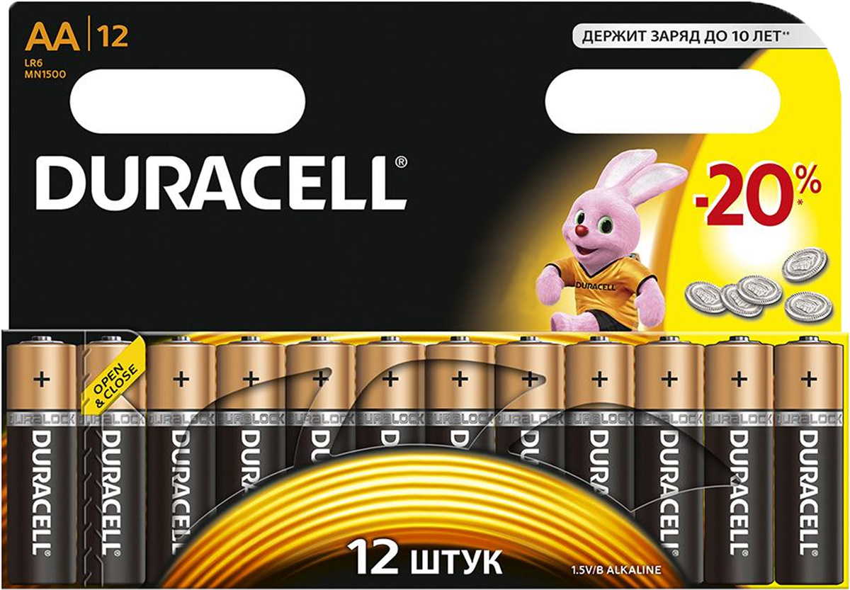 Набор алкалиновых батареек Duracell, тип AA, 12 штKOCLR03_96BOXНабор батареек Duracell - оптимальный выбор для использования в современных приборах. Особенно эффективны в таких изделиях как плееры, фонари, пульты дистанционного управления, фотовспышки, часы, диктофоны, электронные игрушки, переносные ТВ и т.д. Щелочной элемент питания батареек работает до 10 раз дольше, по сравнению с обычными солевыми батарейками. Характеристики:Тип элемента питания: AA (LR6). Тип электролита: щелочной. Выходное напряжение: 1,5 В. Комплектация: 12 шт. Размер упаковки: 17 см х 12 см х 1,5 см. Артикул: DRC-81367213.