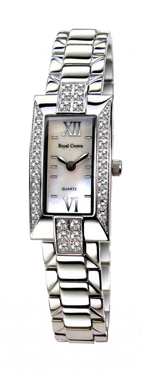 Часы женские наручные Royal Crown, цвет: серебряный, белый. 3591-RDM-6BM8434-58AEЭлегантные женские часы Royal Crown изготовлены из латуни нержавеющей стали и минерального стекла. Корпус изделия инкрустирован чешскими цирконами, циферблат дополнен перламутром.Корпус часов оснащен кварцевым механизмом, который имеет степень влагозащиты равную 3 Bar, а также устойчивым к царапинам минеральным стеклом. Практичный складной замок, предусмотренный в конструкции браслета, позволит снимать и надевать часы.Часы поставляются в фирменной упаковке.Часы Royal Crown подчеркнут изящность женской руки и отменное чувство стиля у их обладательницы.