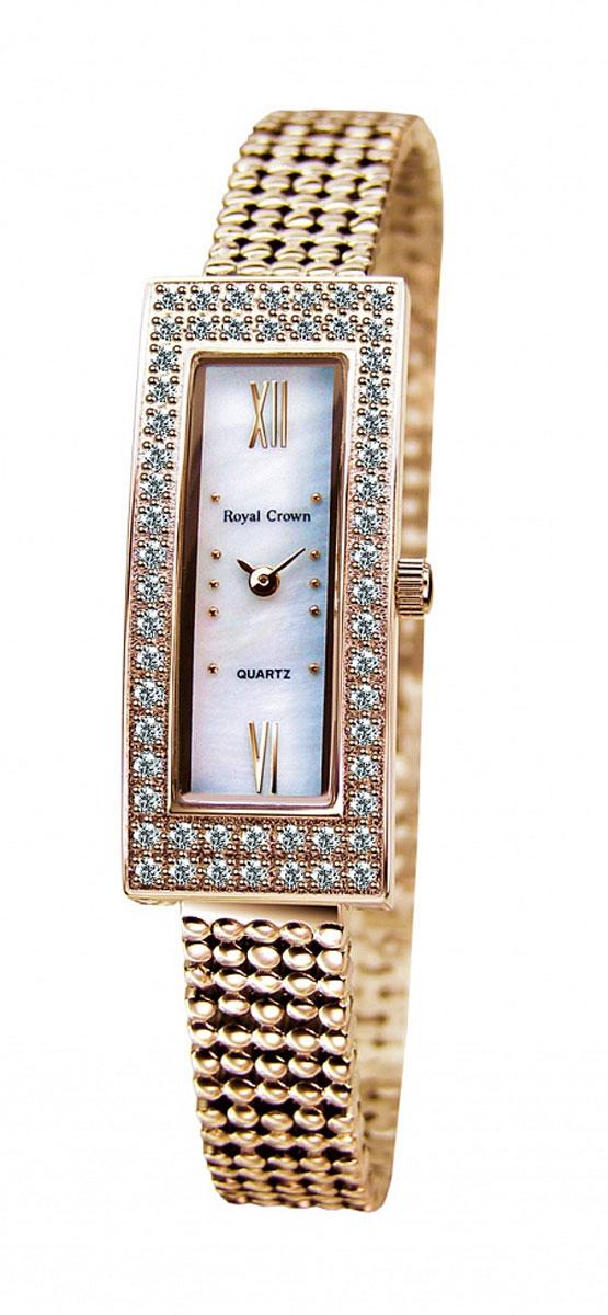 Часы наручные женские Royal Crown, цвет: золотой. 2311LS-RSG-6BM8434-58AEНаручные кварцевые часы Royal Crown выполнены из высококачественного металла. Корпус оформлен вставками из страз. Браслет оснащен удобной металлической застежкой, которая надежно зафиксирует изделие на запястье. Часы оснащены минеральным, устойчивым к царапинам, стеклом с сапфировым напылением и задней крышкой из гипоаллергенной нержавеющей стали.