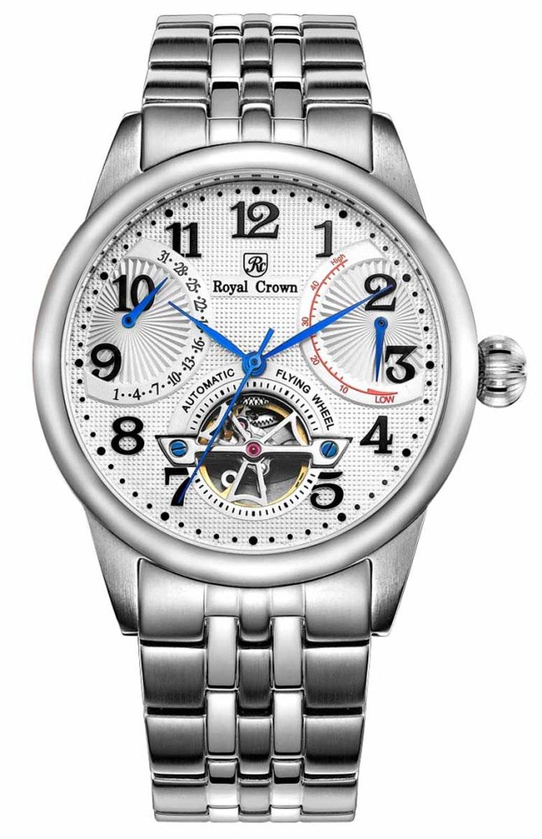 Часы наручные мужские Royal Crown, цвет: серебристый. 8308S-A-RDM-64106черныеНаручные механические мужские часы с автоподзаводом выполнены из высококачественной стали. Браслет оснащен удобной металлической застежкой, которая надежно зафиксирует изделие на запястье. Часы оснащены минеральным, устойчивым к царапинам, стеклом из сапфира.