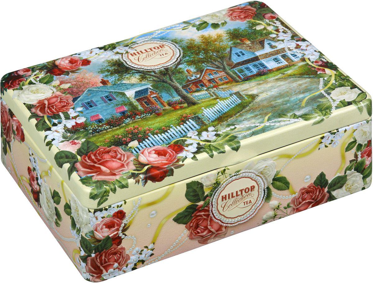 Hilltop Загородный пейзаж чайный набор, 200 г70881-00Чайный набор Hilltop Загородный пейзаж поставляется в подарочной шкатулке с крышкой. Внутри 4 жестяные чайницы и металлическое заварное ситечко.Состав набора:Цейлонский чай (50 г) - особый сорт черного цейлонского байхового среднелистового чая, содержащий большое количество эфирных масел, с богатым вкусом, насыщенным ароматом и выраженным тонизирующим эффектом.Черное золото (50 г) - китайский черный крупнолистовой чай высшего сорта.Молочный Оолонг (50 г) - знаменитый китайский полуферментированный чай с нежным ароматом свежих сливок.Ароматизированная смесь черного и зеленого чая 1001 ночь (50 г) подарит душевный покой и умиротворение.