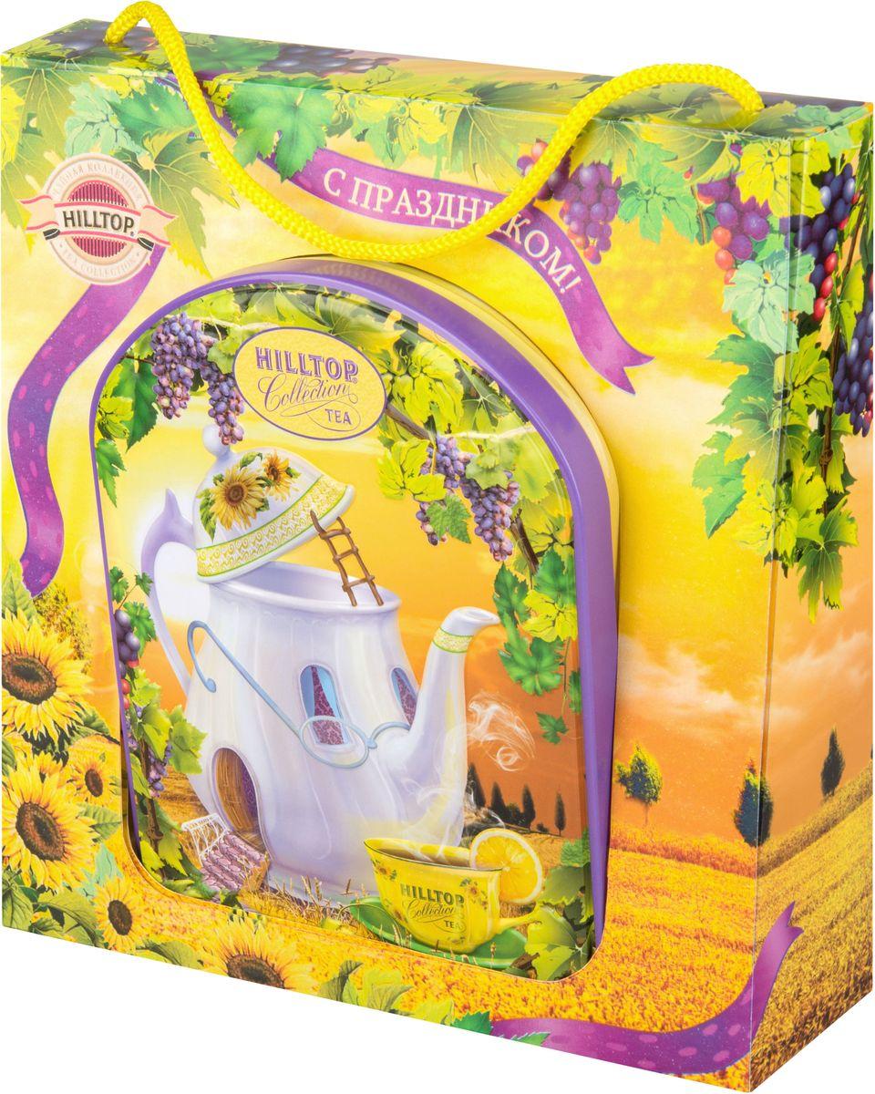 Hilltop Веселый чайник Подарок Цейлона черный листовой чай, 100 г (в футляре)4610001572923Hilltop Веселый чайник Подарок Цейлона - крупнолистовой цейлонский черный чай с глубоким, насыщенным вкусом и изумительным ароматом. Благодаря красивой праздничной упаковке вы можете подарить этот прекрасный чай своим друзьям и близким.