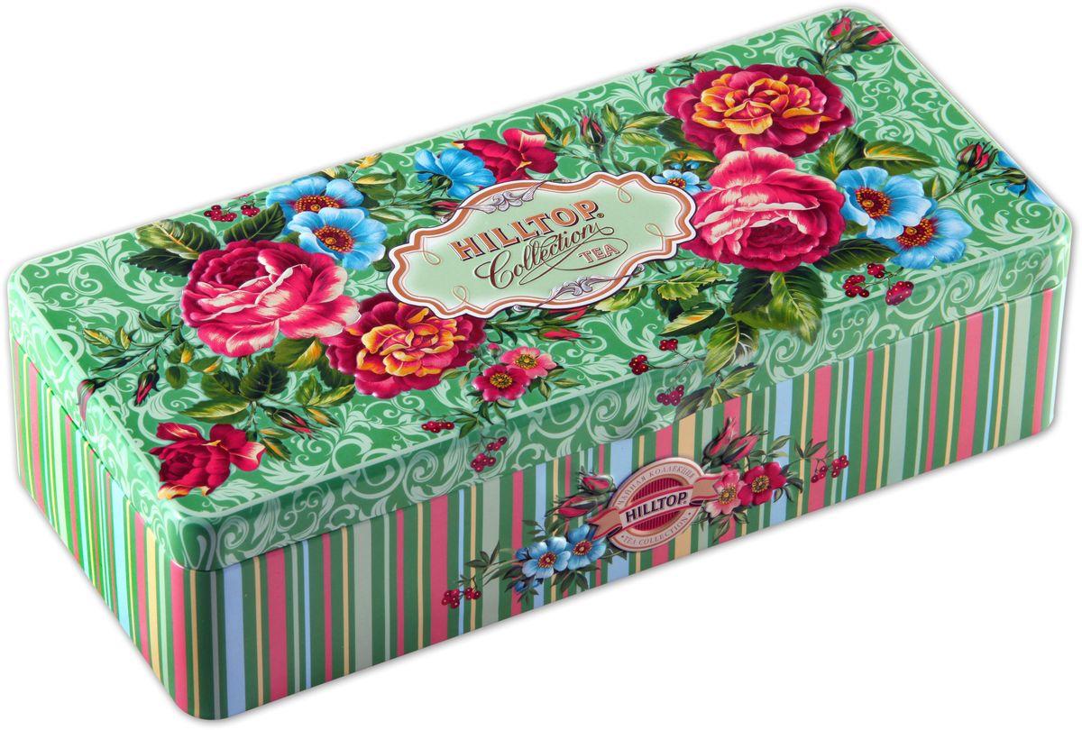Hilltop Чайные розы чайный набор, 150 г4607099303157Hilltop Чайные розы поставляется в подарочной шкатулке с крышкой. Внутри 3 жестяные чайницы.Состав набора:Подарок Цейлона (50 г) — крупнолистовой цейлонский черный чай с глубоким, насыщенным вкусом и изумительным ароматом.Земляника со сливками (50 г) — крупнолистовой черный чай с листьями и плодами земляники, и со вкусом свежих сливок. Классика ароматизированных чаев. Попробуйте охлажденным, с добавлением кусочков льда.Крупнолистовой чай Эрл Грей (50 г) с цедрой лимона и ароматом бергамота - в лучших традициях Англии.