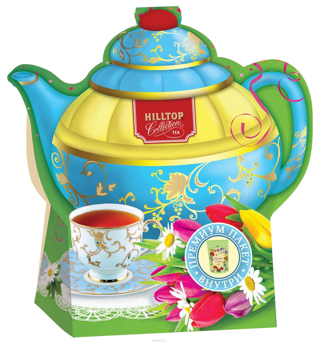 Hilltop Подарок Цейлона черный листовой чай, 80 г (чайник Тюльпаны)1158-08Крупнолистовой цейлонский черный чай Hilltop Подарок Цейлона с глубоким, насыщенным вкусом и изумительным ароматом. Благодаря красивой праздничной упаковке вы можете подарить этот прекрасный чай своим друзьям и близким.