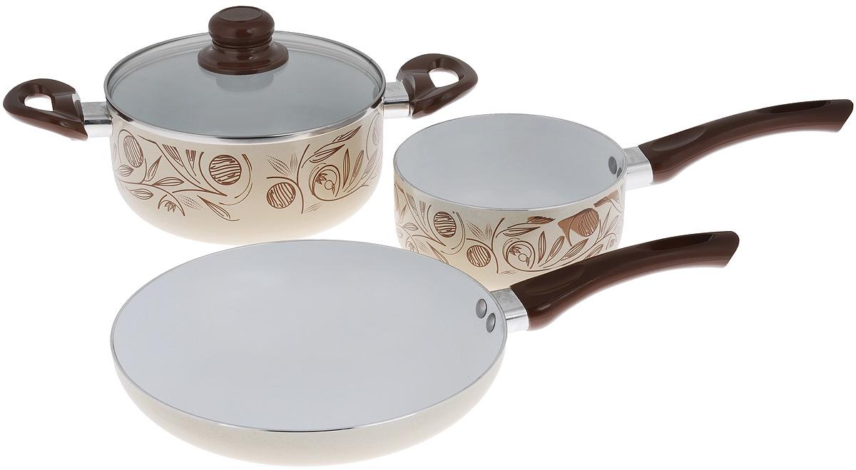 Набор кухонной посуды Calve Premium Quality, цвет: бежевый, коричневый, 4 предмета115510Набор кухонной посуды Calve Premium Quality состоит из сотейника, кастрюли со стеклянной крышкой и сковороды. Все предметы набора выполнены из алюминия с внутренним керамическим покрытием, а внешние стороны украшены стильным термостойким покрытием. Изделия оснащены удобной ручкой, выполненной из бакелита. Такая ручка не нагревается в процессе готовки и обеспечиваетнадежный хват.Толщина стенок: 2,5 мм. Диаметр сотейника: 16 см. Высота стенок сотейника: 7 см.Объем сотейника: 1,5 л.Длина ручки: 16,5 см.Диаметр кастрюли: 20 см.Высота стенок кастрюли: 8,5 см.Объем кастрюли: 2,8 л.Длина кастрюли вместе с ручками: 34,5 см.Диаметр сковороды: 24 см.Высота стенок сковроды: 4,5 см.Длина ручки: 16,5 см.