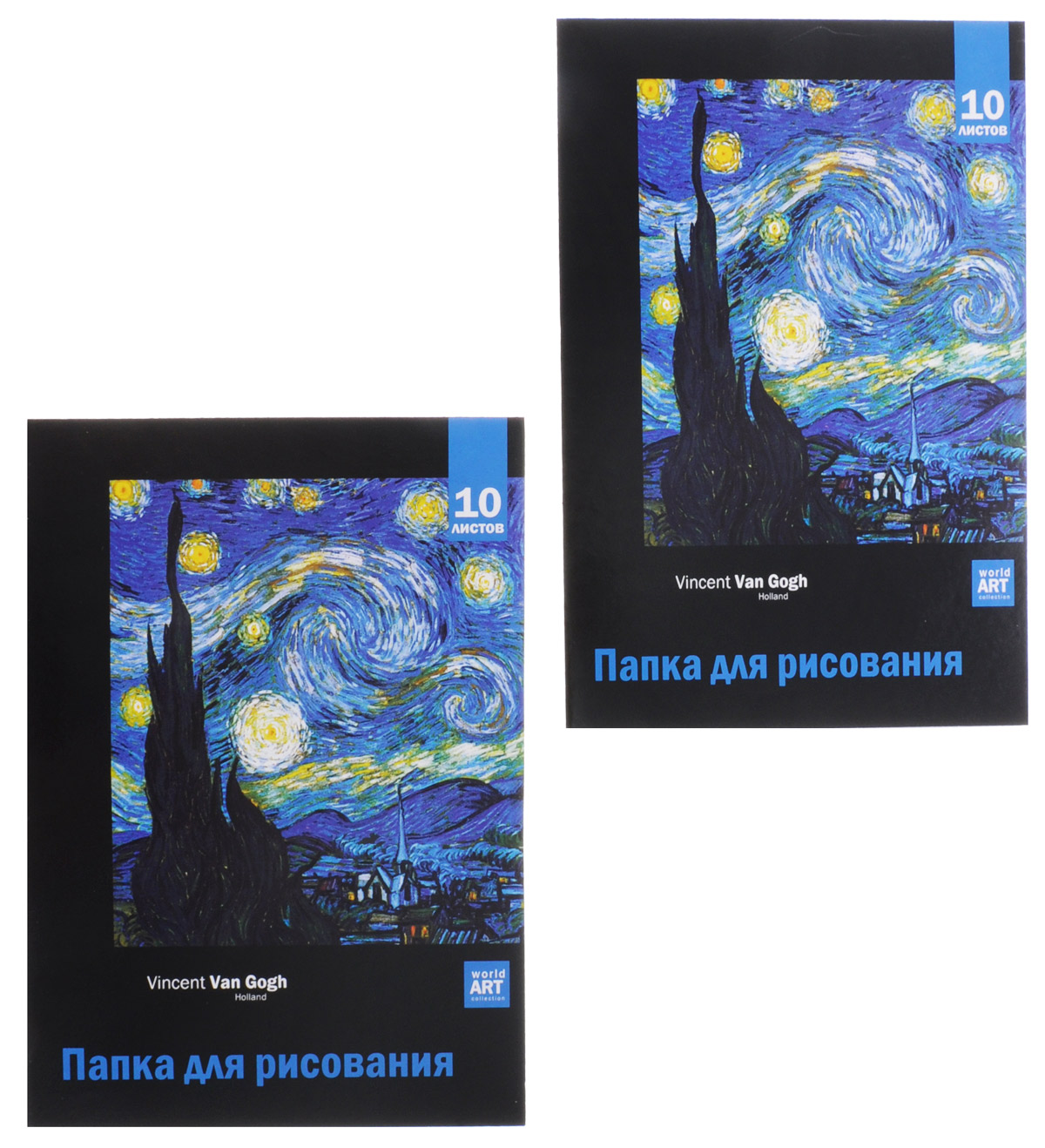 Action! Папка для рисования Vincent Van Gogh 10 листов 2 шт AFDS-4/10-272523WDПапка для рисования Action! Vincent Van Gogh предназначена для эскизов и рисования. Подходит для работ карандашами, пастелью, углем. Обложка - высококачественный мелованный картон с красочным изображением творчества Ван Гога. Бумажные листы удобно хранить в папке, которая надежно защитит их от повреждений. Одна папка содержит 10 листов бумаги. В набор входят две папки.