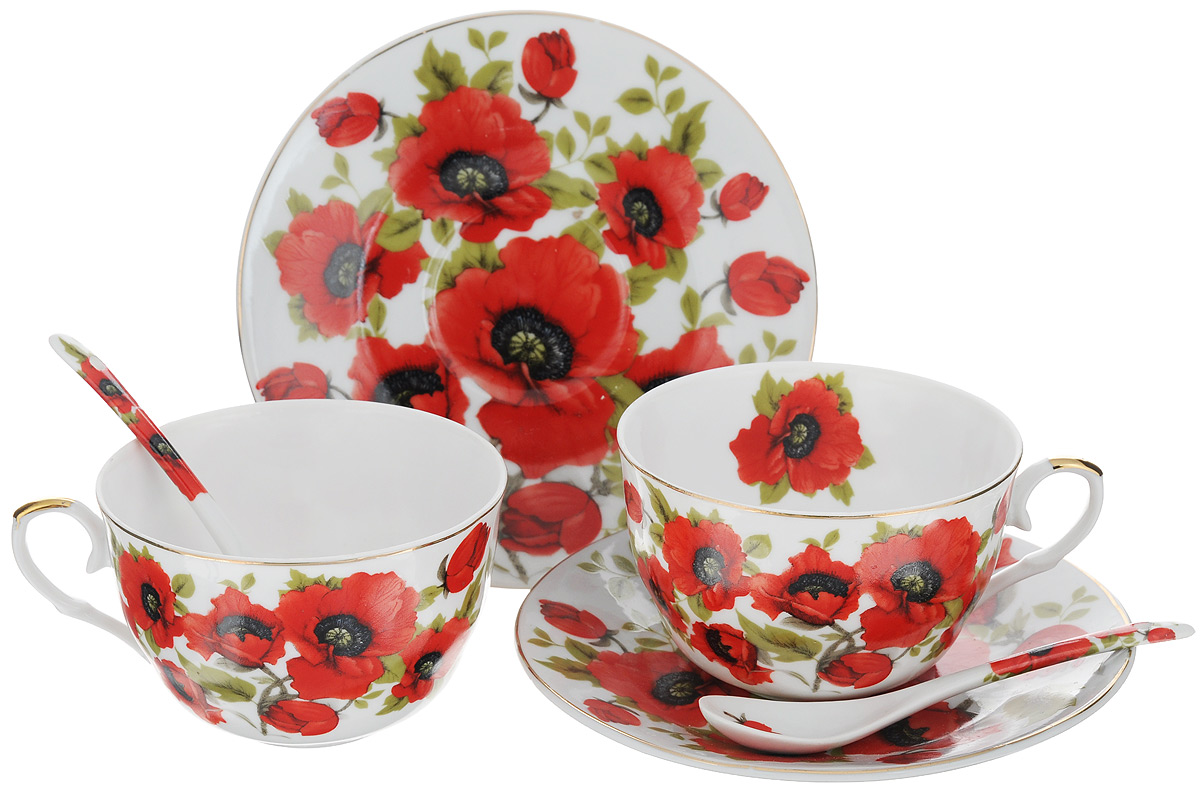 Набор чайный Elan Gallery Маки, 6 предметов. 180798586-342Набор чайный Elan Gallery Маки состоит из двух чашек, двух блюдец и двух чайных ложек, выполненных из высококачественной керамики. Изделия оформлены оригинальным цветочным рисунком. Изящный набор эффектно украсит стол к чаепитию и порадует вас функциональностью и ярким дизайном.Объем чашки: 250 мл.Диаметр чашки (по верхнему краю): 9,5 см.Высота чашки: 6 см.Диаметр блюдца: 15 см.Длина чайной ложки: 12,5 см.