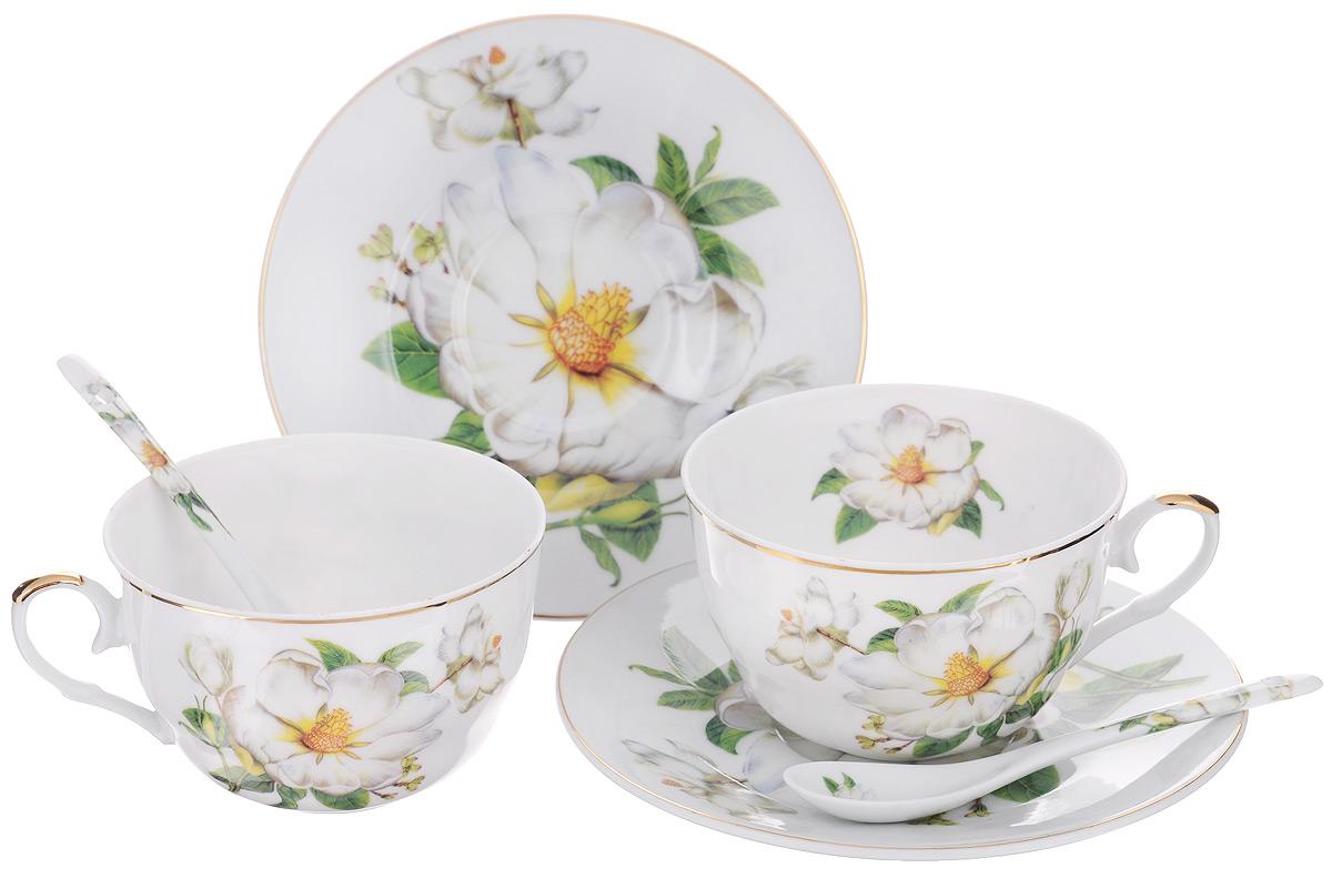 Набор чайный Elan Gallery Белый шиповник, 6 предметов115510Набор чайный Elan Gallery Белый шиповник состоит из двух чашек, двух блюдец и двух ложек, выполненных из высококачественной керамики. Изделия оформлены изящным цветочным рисунком. Изящный набор эффектно украсит стол к чаепитию и порадует вас функциональностью и ярким дизайном.Объем чашки: 250 мл.Диаметр чашки (по верхнему краю): 9,5 см.Высота чашки: 6 см.Диаметр блюдца: 15 см.Длина чайной ложки: 12,5 см.